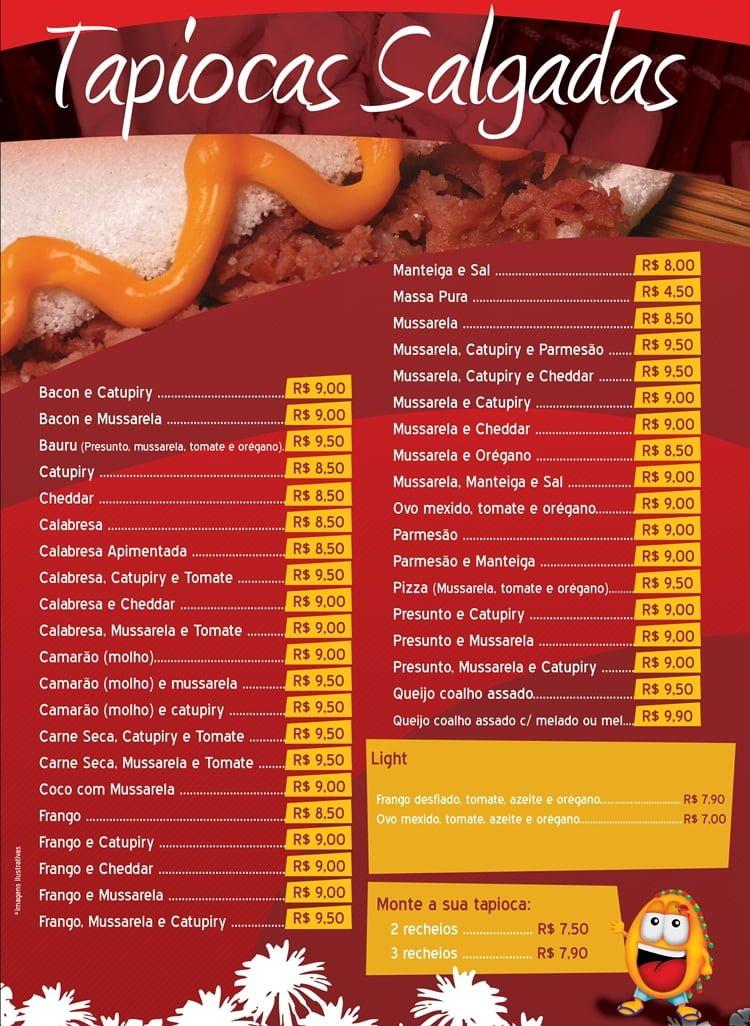 cardápio de tapioca com preços