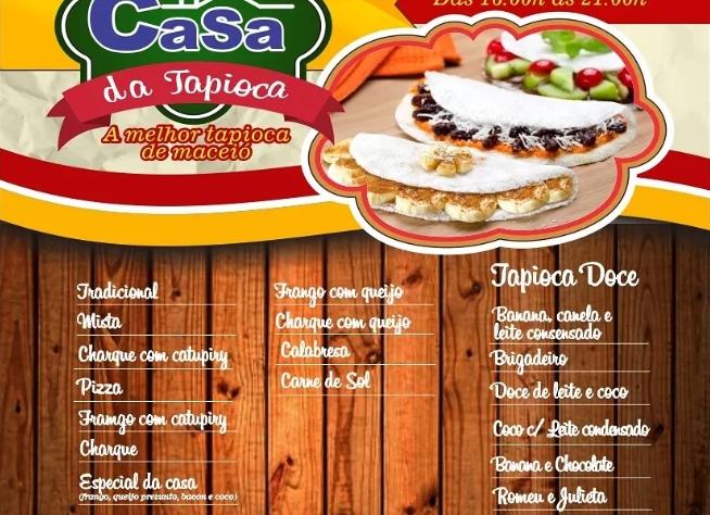 cardápio de tapioca