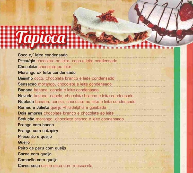 cardápio para tapiocaria