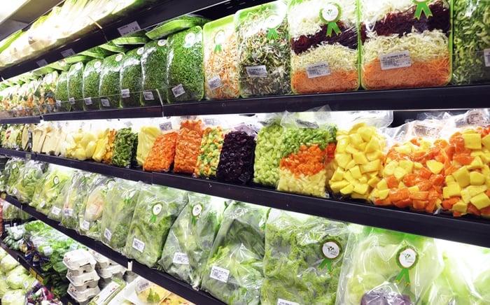 vender legumes picados e embalados