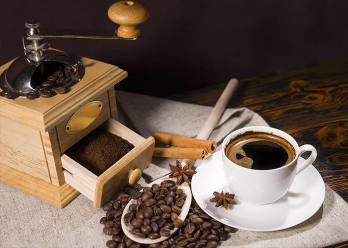negócio de café moído na hora