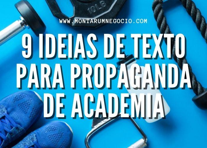 Texto para propaganda de academia